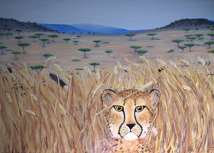Cheetah Greeting Card featuring the painting Illusion 01 by Tammy Dunn