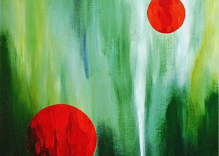 Abstract By Herschel Fall Red And Green Greeting Card featuring the painting Illusion Of Light by Herschel Fall