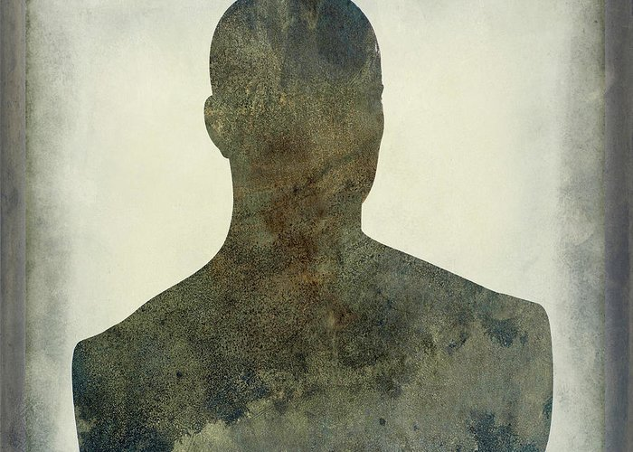 Texture Greeting Card featuring the photograph Illustration Of A Human Bust. Silhouette by Bernard Jaubert