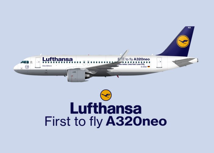 Illustration Of Lufthansa Airbus A320 Neo - Blue Version Greeting Card
