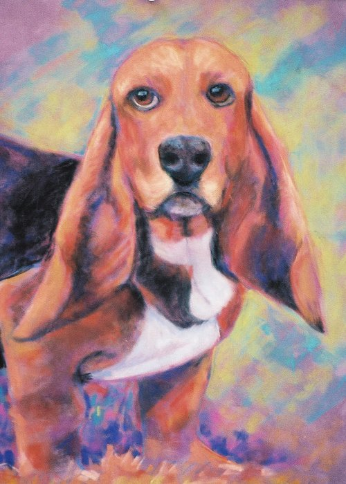 Basset Hound Greeting Card featuring the painting I'm All Ears Ears by Billie Colson
