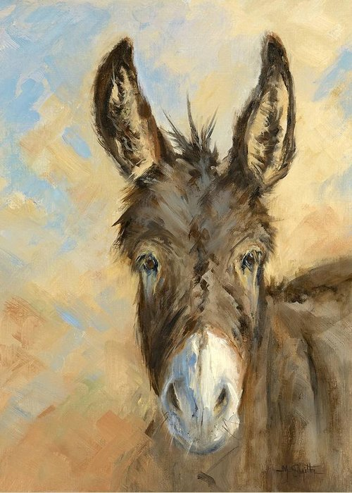 Burro Greeting Card featuring the painting I'm All Ears by Marla Smith