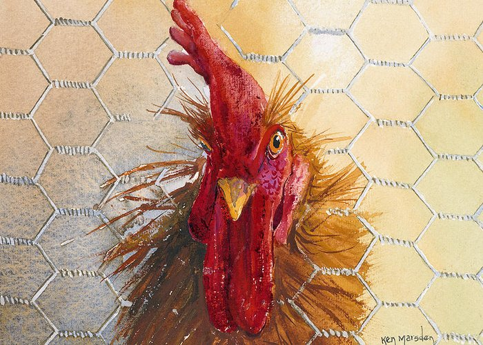 Rooster Greeting Card featuring the painting I'm Bad by Ken Marsden