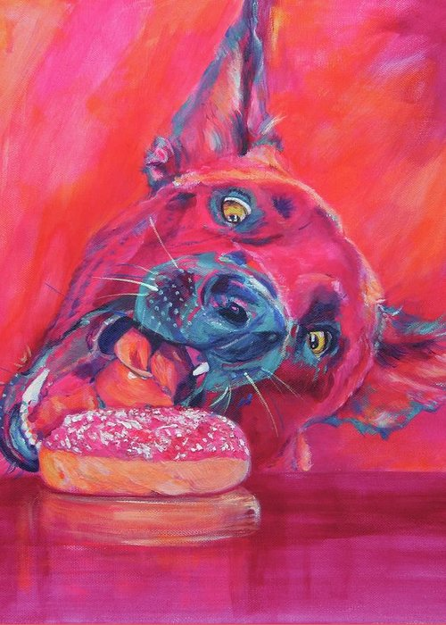 Dutch Shepherd Greeting Card Featuring The Painting Im Gonna Get You By Karin McCombe