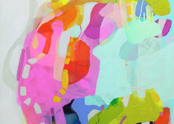Abstract Greeting Card featuring the painting I'm So Glad by Claire Desjardins