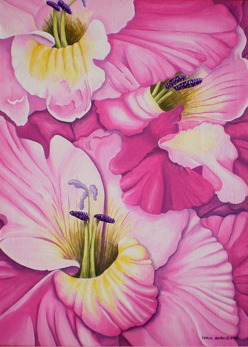 Acrylic Greeting Card featuring the painting I'm So GLADiolas by Carol Sabo