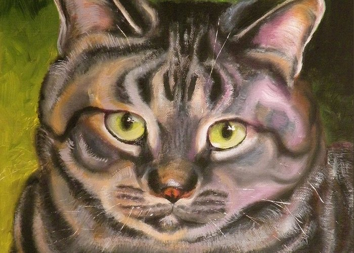 Cat Greeting Card featuring the painting Im Your Man Tabby by Susan A Becker