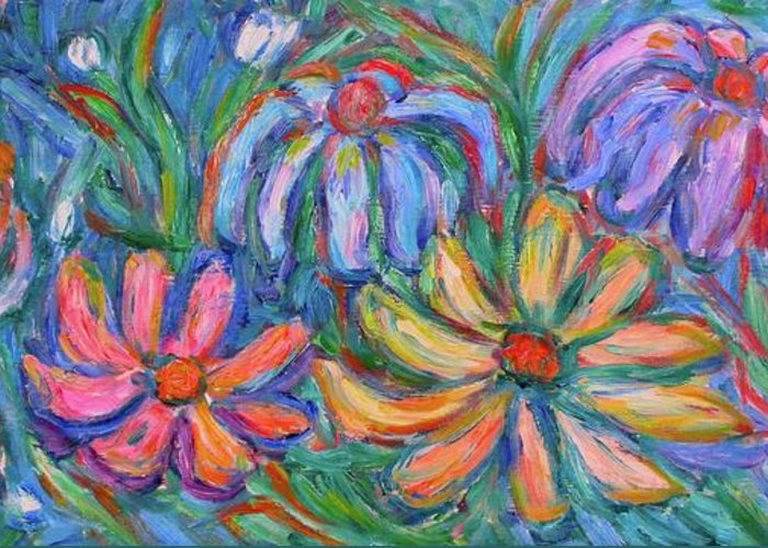Flowers Greeting Card featuring the painting Imaginary Flowers by Kendall Kessler