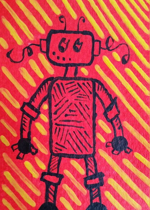 Robot Greeting Card featuring the painting Imagination Denied by Kelly Brimberry