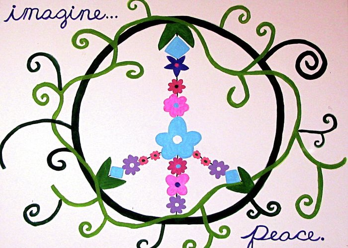 Hippy Greeting Card featuring the painting Imagine Peace by Marina Hackett