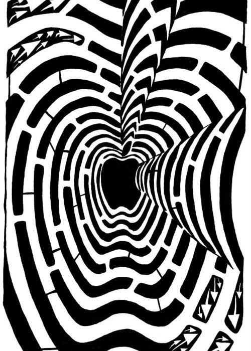 Imaze Greeting Card featuring the drawing iMaze Apple Ad Maze Idea by Yonatan Frimer Maze Artist