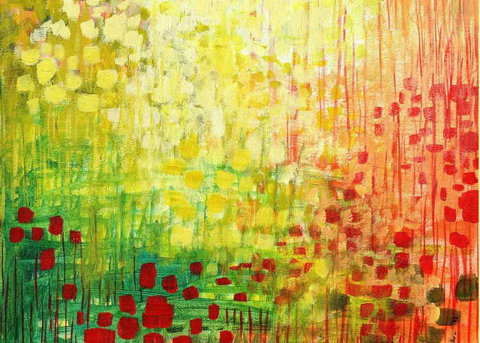 Abstract Greeting Card featuring the painting Immersed No 2 by Jennifer Lommers