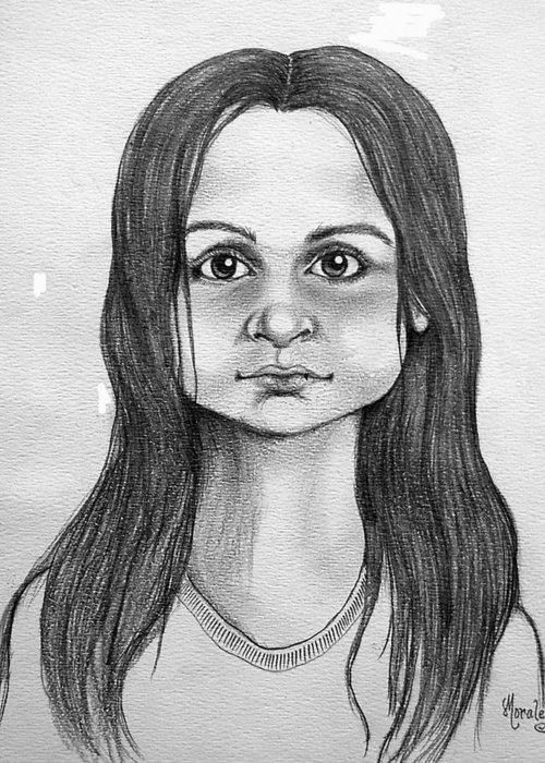 Portrait Greeting Card featuring the drawing Immigrant Girl by Marco Morales