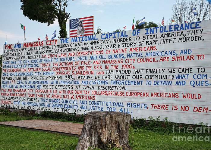 Flag Greeting Card featuring the photograph Immigrant Protest Sign In Manassas by William Kuta