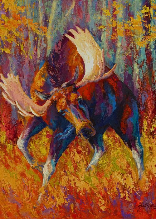Moose Greeting Card featuring the painting Imminent Charge - Bull Moose by Marion Rose