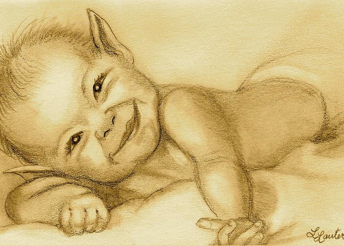 Baby Elf Greeting Card featuring the drawing Imp by L Lauter