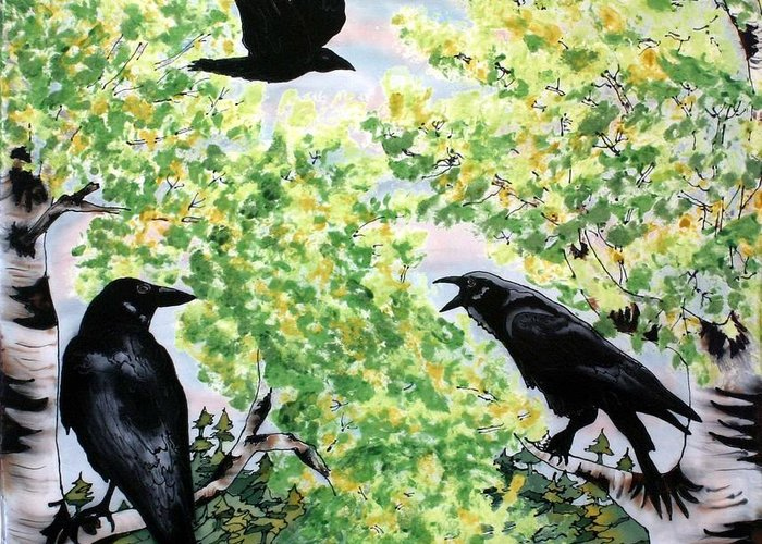 Ravens Greeting Card featuring the painting Imparting Wisdom by Linda Marcille