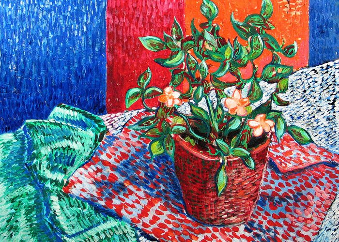 Still Life Greeting Card featuring the painting Impatiens by Rollin Kocsis