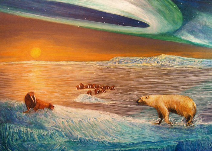 Walrus Greeting Card featuring the painting Impending Threat by Dianne Roberson