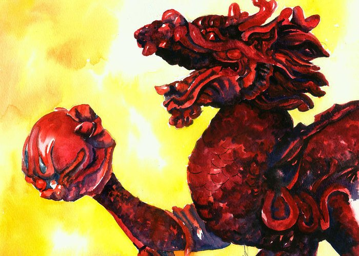 Asian Art Greeting Card featuring the painting Imperial Dragon by Christy Freeman