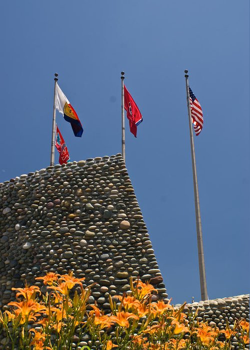 Imposing Greeting Card featuring the photograph Imposing Flags by Douglas Barnett