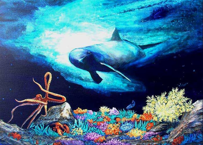 Whale Greeting Card featuring the painting Imposing Gaze by Dianne Roberson