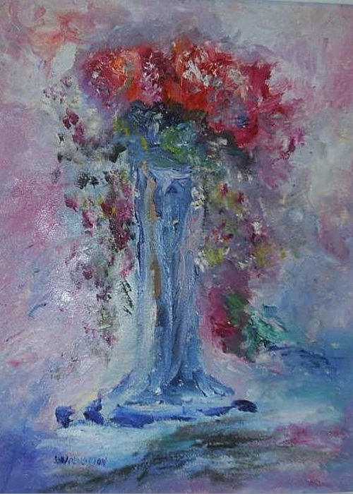 Impression- Realism Greeting Card featuring the painting Impression- Flowers And Vase by Edward Wolverton