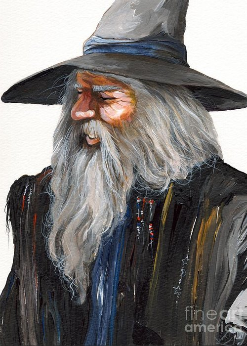 Fantasy Art Greeting Card featuring the painting Impressionist Wizard by J W Baker