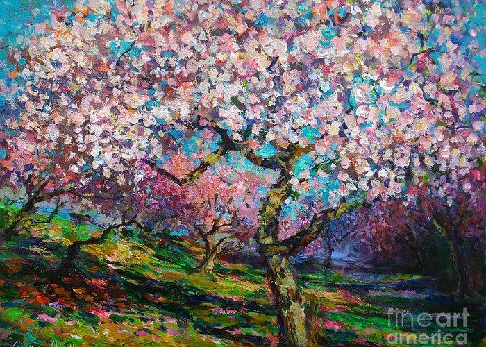 Spring Blossoms Painting Greeting Card featuring the painting Impressionistic Spring Blossoms Trees Landscape Painting Svetlana Novikova by Svetlana Novikova