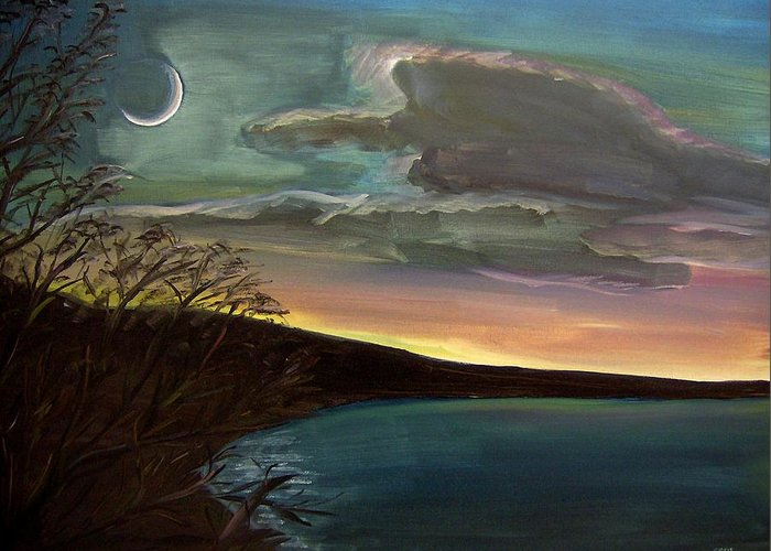 Sunset Greeting Card featuring the painting Impressionistic Twilight by Clemens Greis