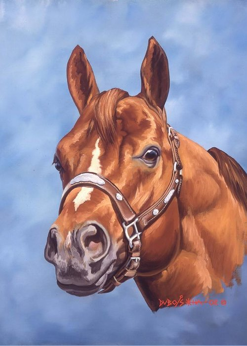 Quarter Horse Greeting Card featuring the painting Impressive by Howard Dubois