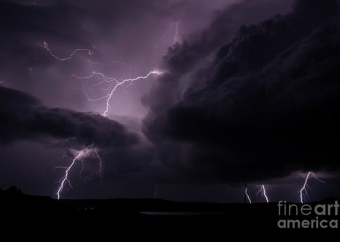 Lightning Greeting Card featuring the photograph Impressive Lightning by Francis Lavigne-Theriault