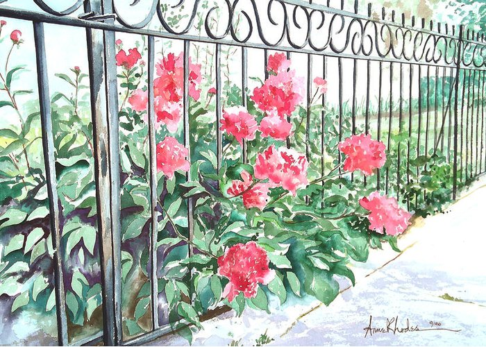 Landscape Greeting Card featuring the painting Imprisoned Peonies by Anne Rhodes