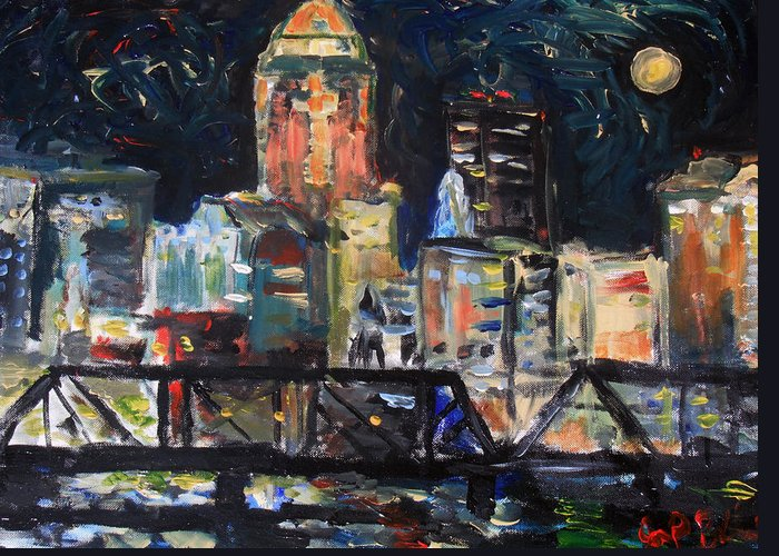 Cityscape Greeting Card featuring the painting Improv Des Moines by Jon Baldwin Art