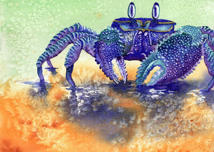 Crab Greeting Card featuring the painting In A Blue Mood by Tracy L Teeter