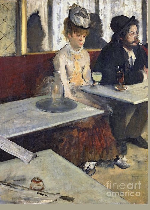 In A Cafe Greeting Card featuring the painting In A Cafe by Edgar Degas