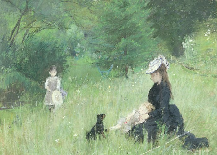 Greeting Card featuring the painting In A Park by Berthe Morisot
