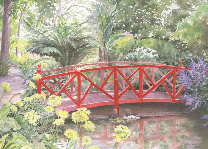 Landscape Greeting Card featuring the painting In Abbotsbury Subtropical Gardens. by Maureen Carter