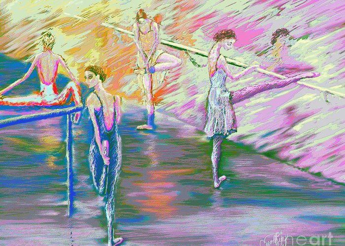 Ballet Dancers Greeting Card featuring the digital art In Ballet Class by Cynthia Sorensen