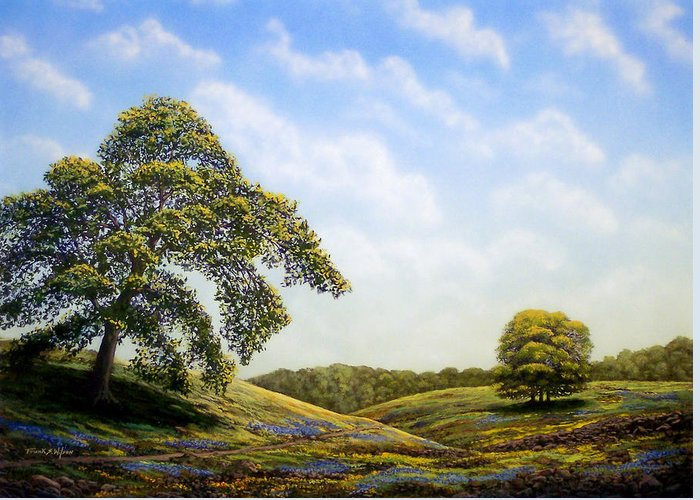 Landscape Greeting Card featuring the painting In Bloom by Frank Wilson