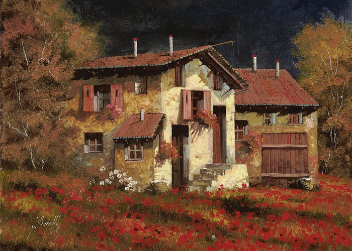 Landscape Greeting Card featuring the painting In Campagna La Sera by Guido Borelli