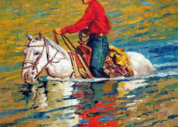 Cowboy Greeting Card featuring the painting In Deep Water by John Lautermilch