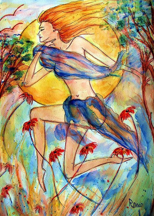 Female Figure Greeting Card featuring the painting In Dreams by Robin Monroe
