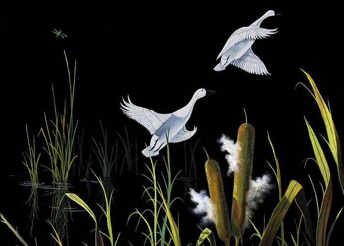 Birds Greeting Card featuring the painting In Flight by Don Griffiths