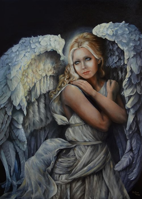 Angels Greeting Card featuring the painting In God's Bright Shadow by Susan Frech-Sims