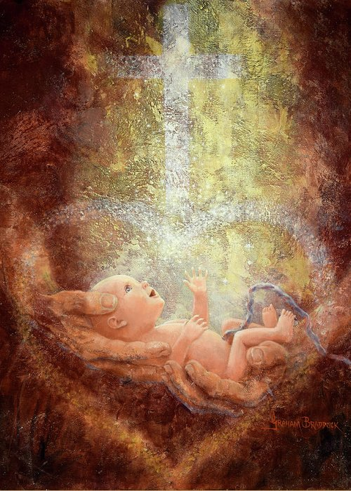 Baby Greeting Card featuring the painting In His Hands by Graham Braddock