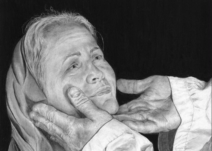 Portrait Greeting Card featuring the drawing In His Hands by Jyvonne Inman