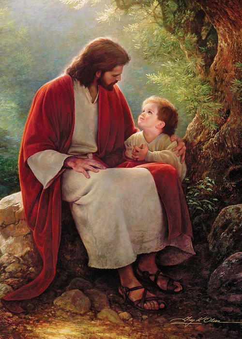 Jesus Greeting Card featuring the painting In His Light by Greg Olsen