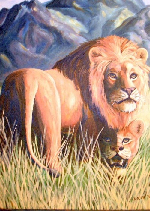 Lions Greeting Card featuring the painting In Lions Time by George I Perez