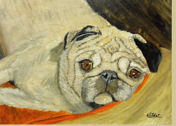 Dog Greeting Card featuring the painting In My Dog Bed by Shari Wilder